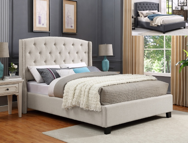 Crownmark 5111 Eva Oatmeal Fabric Upholstered Bed