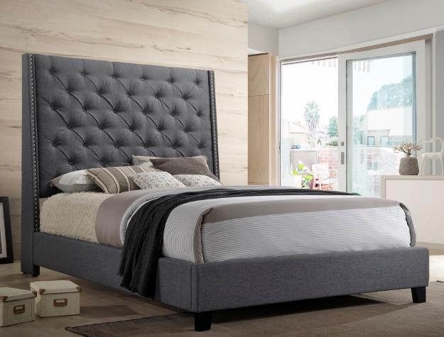 Crownmark 5265 Modern Wingback Upholstered Bed