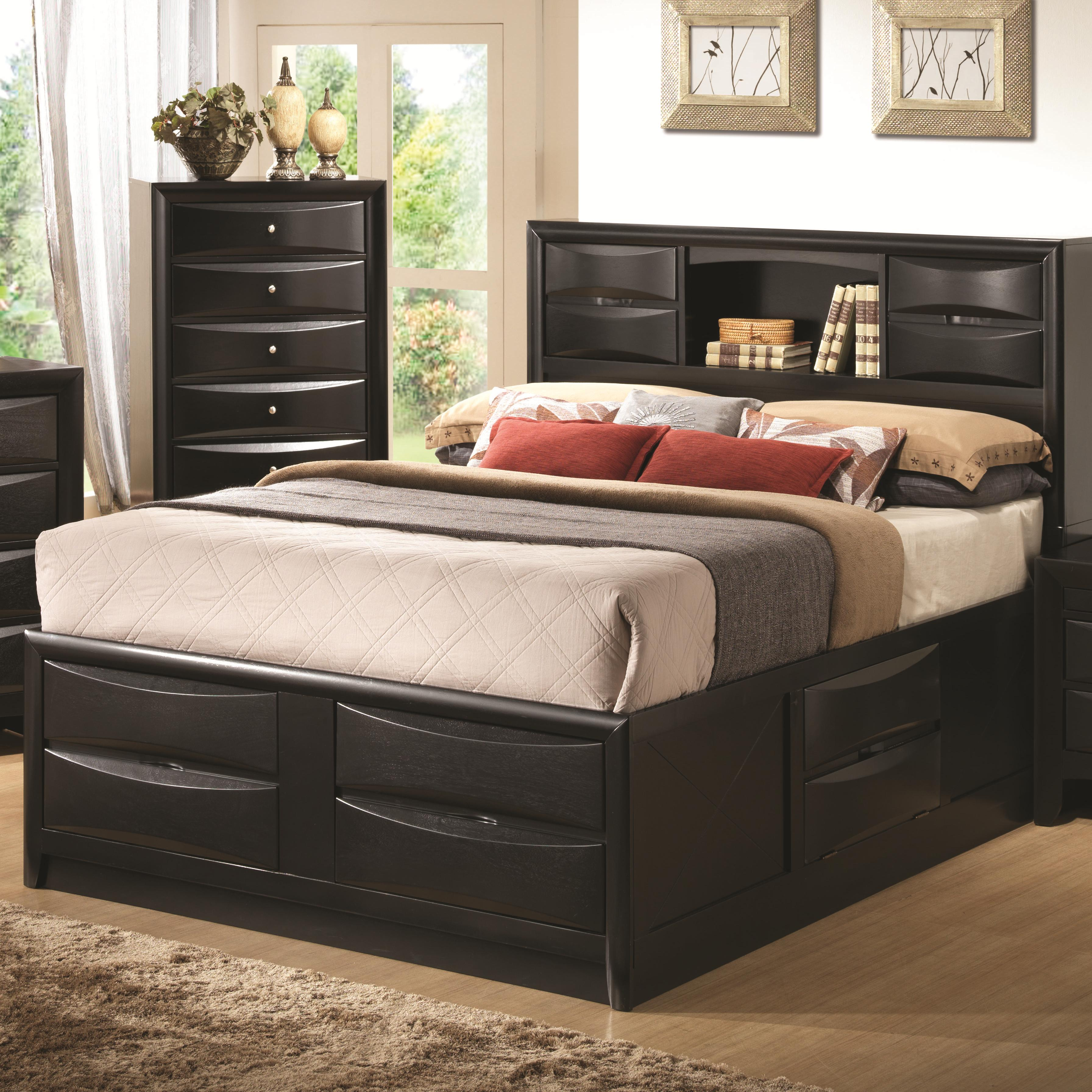 Coaster 202701q Briana Black Bookcase Storage Bed Available In Queen And King Sizes