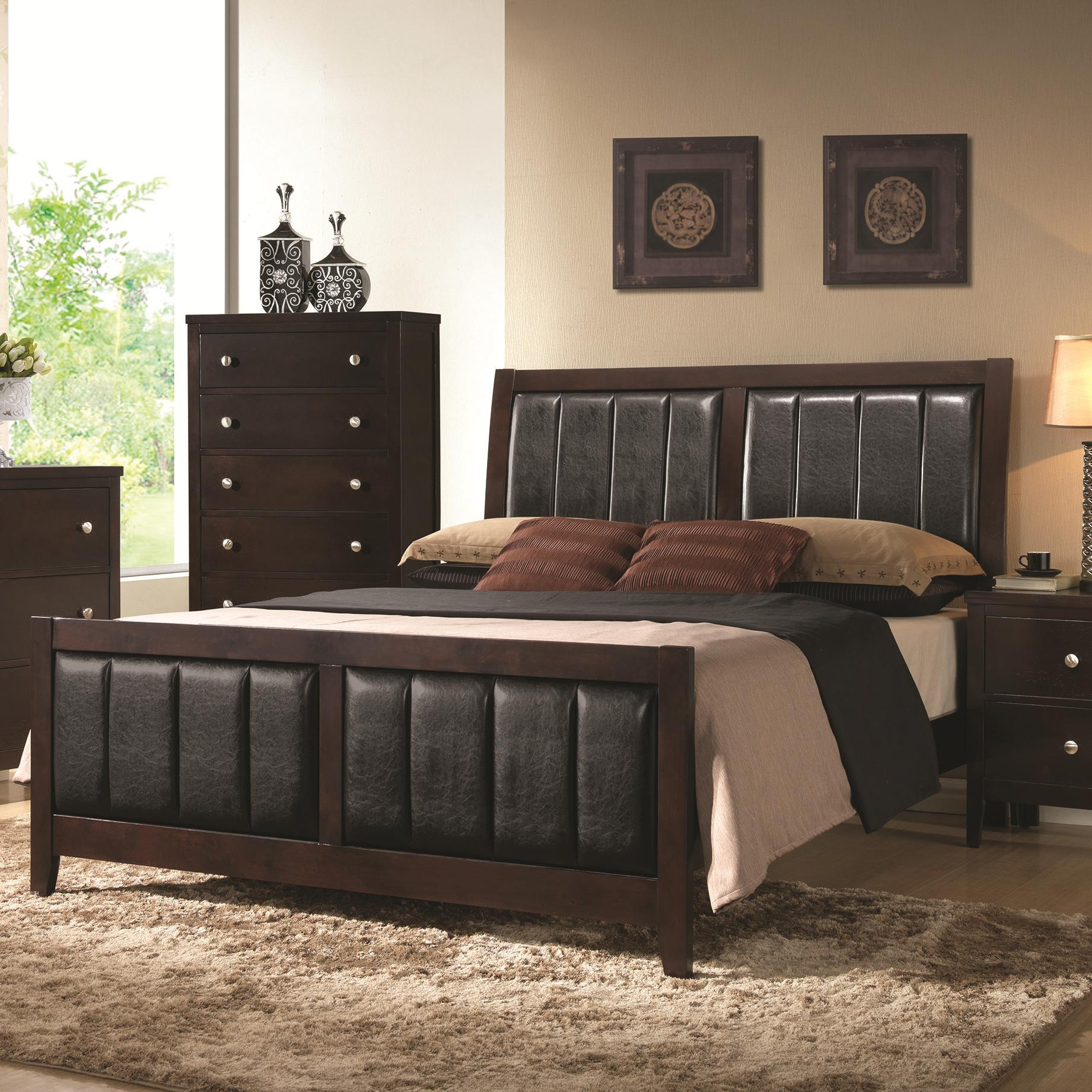 Coaster #202091Q Carlton Padded Letherette & Wood Bed