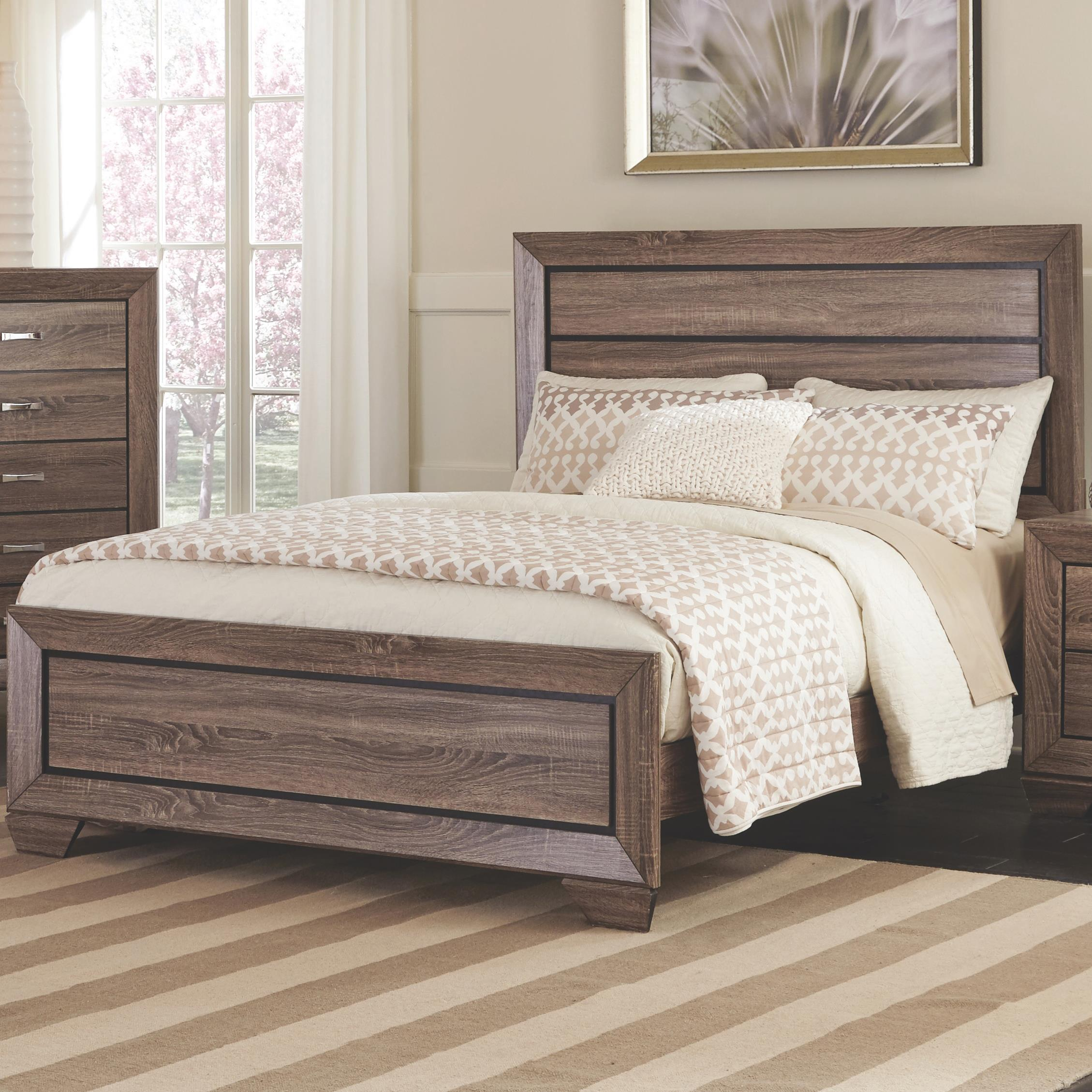 Coaster 204191q Kauffman Washed Taupe Panel Bed