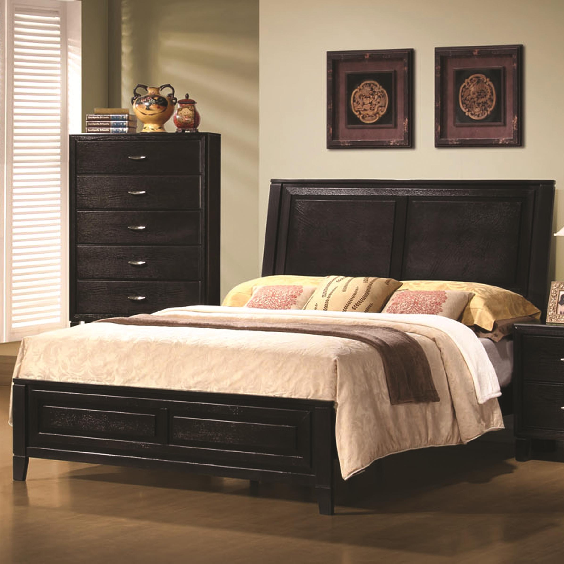 Coaster 201961 Nacey Dark Brown Modern Panel Bed Available In