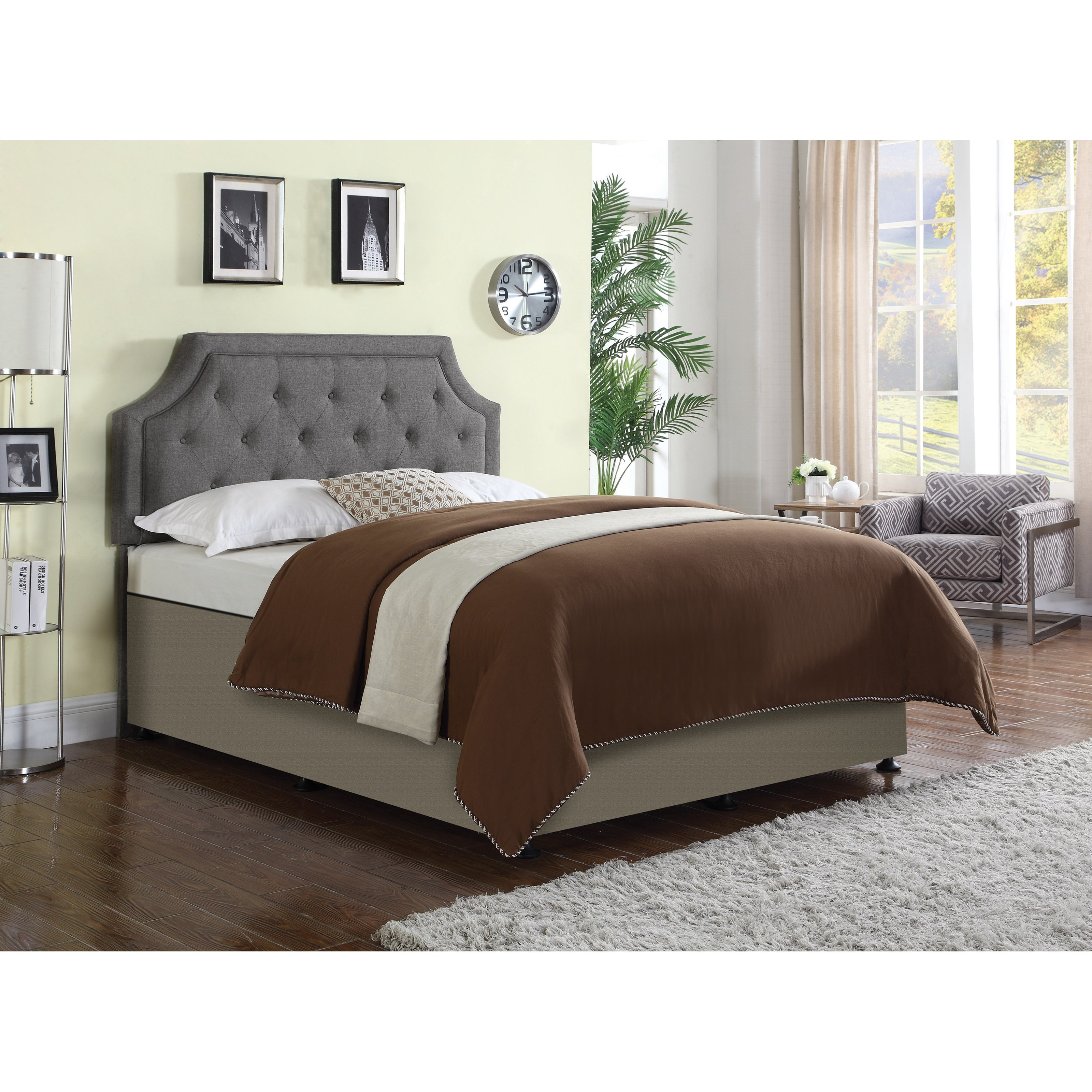 Coaster 301023qf Rushford Grey Upholstered Headboard Available In Queen And King Size Curley S Furniture Store Des Moines Iowa