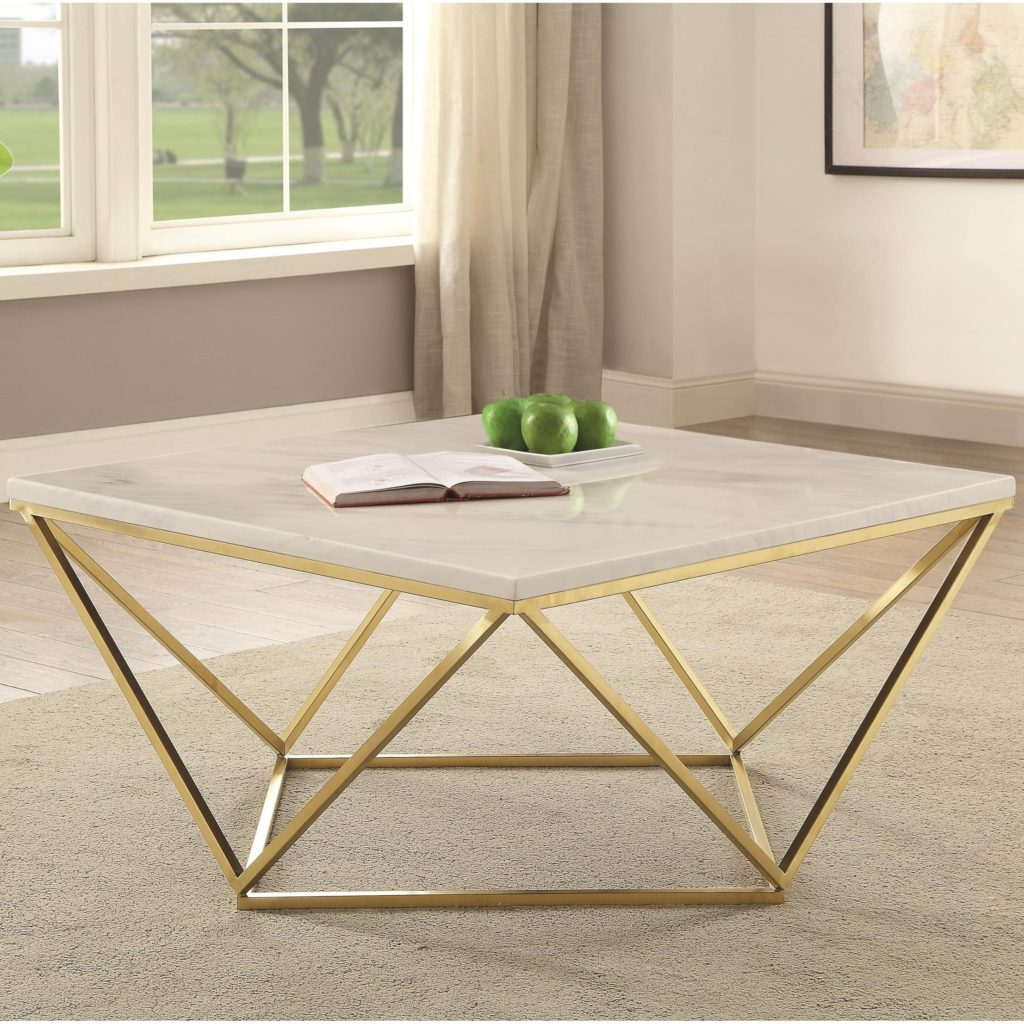 Coaster #700846 White Marble/Brass Coffee Table - Curley's Furniture Store - Des Moines, Iowa