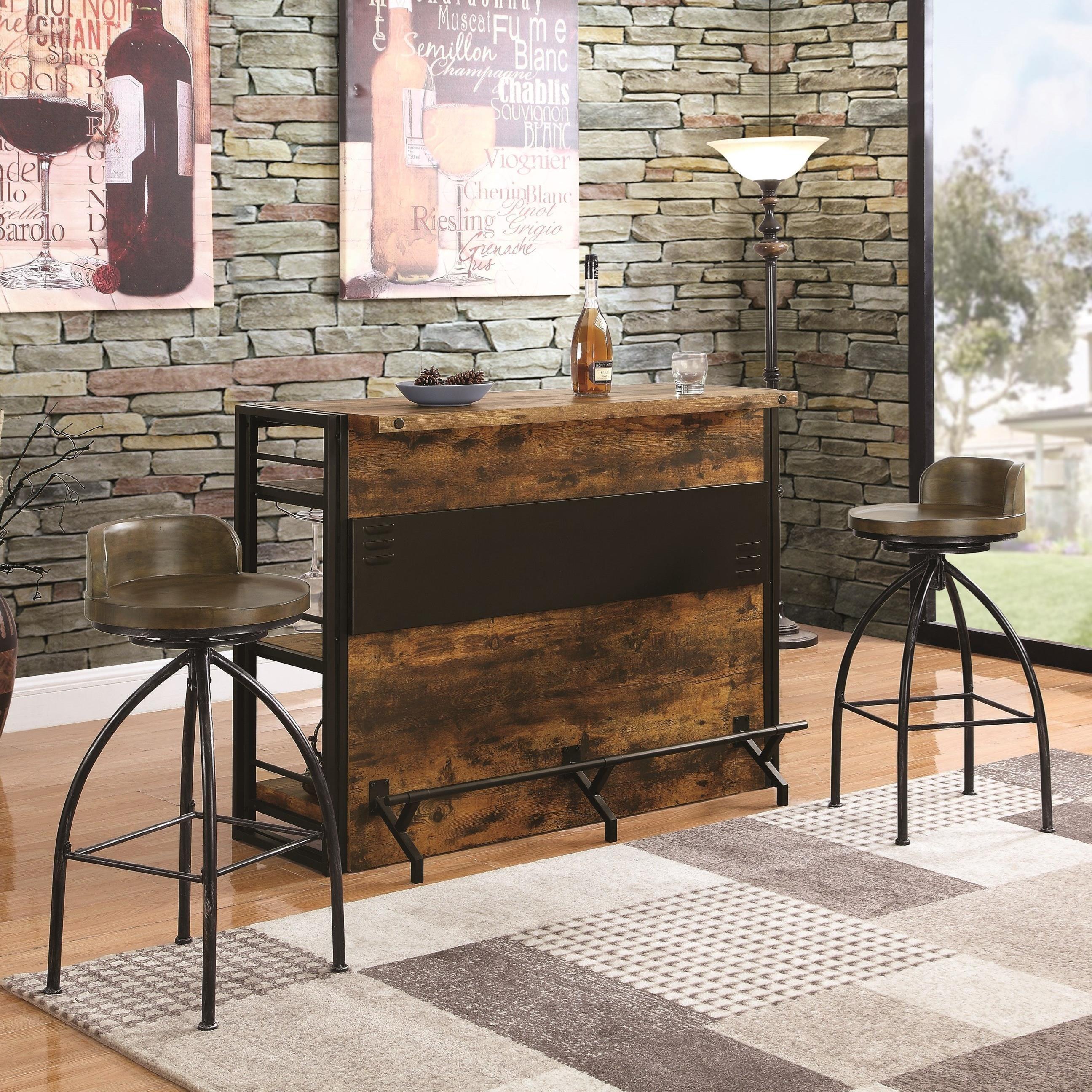 Bar Furniture Store: Coaster #130071 Antique Nutmeg Rustic Bar Unit And Stools