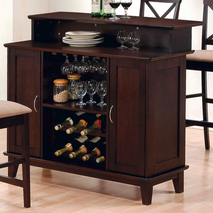Coaster 100218 Cappuccino Bar Unit With Wine Rack And Storage