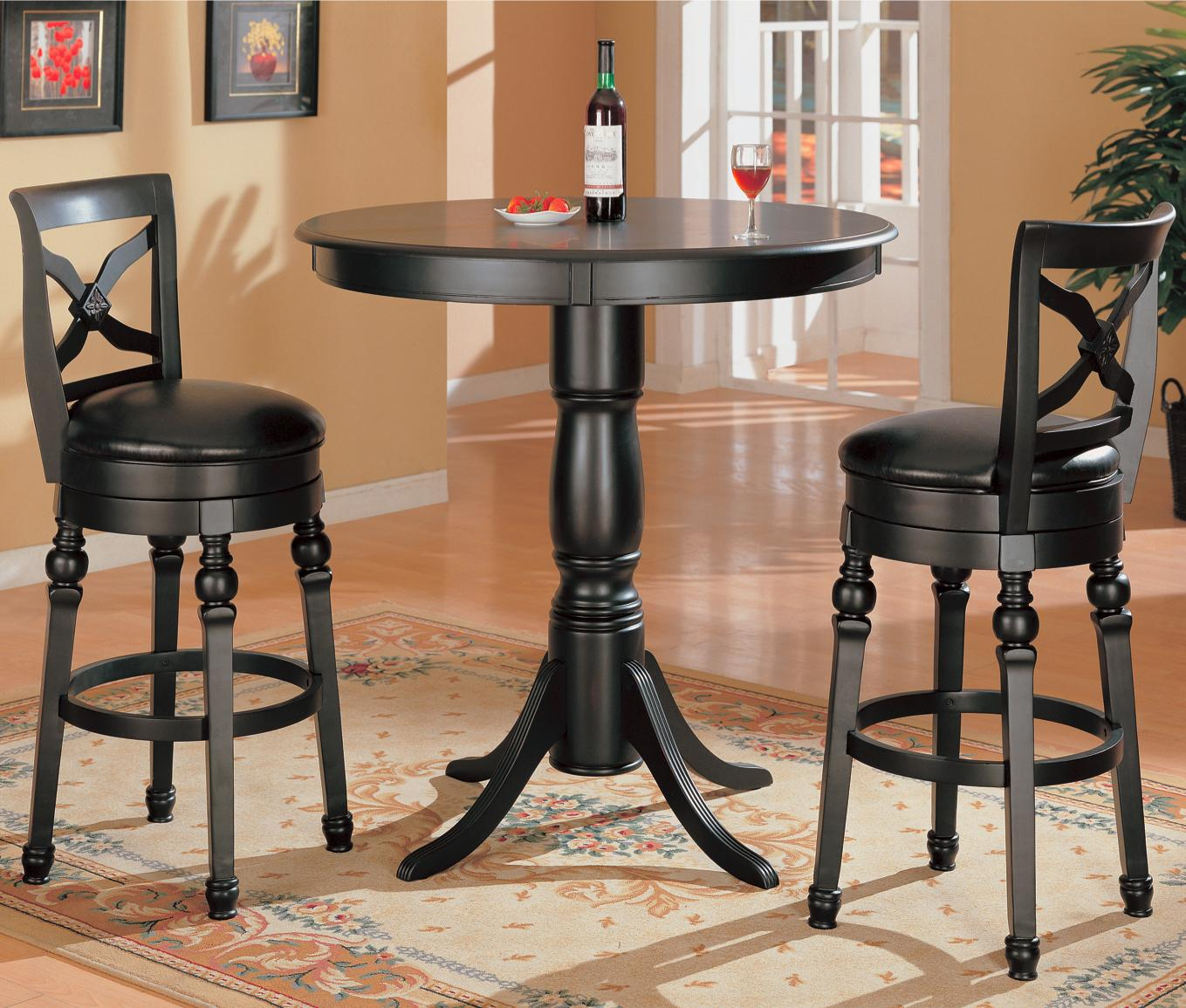 Coaster #100278 Lathrop Black Bar Height Table and Stools